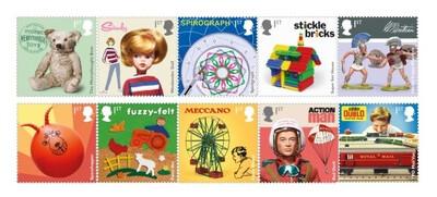 Великобритания. Детские игрушки. Сцепка из 10 марок