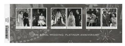 Великобритания. Платиновая годовщина королевской свадьбы (70-летие со дня свадьбы королевы Елизаветы II и принца Филиппа). Почтовый блок из 6 марок