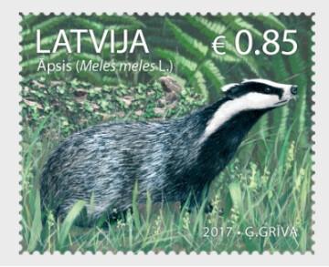 Латвия. Фауна. Европейский барсук. Марка