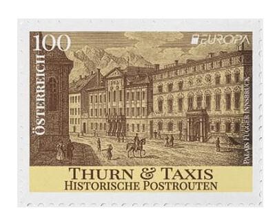 Австрия. EUROPA. Древние почтовые маршруты. Турн-и-Таксис. Марка