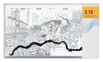 Аргентина. 200 лет нашей Родине. К юбилею Аргентинской Республики. Основные события истории государства в комиксе. Почтовый блок из 12 марок в обложке (сложен на 3 части)