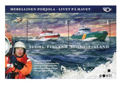Финляндия. NORDIC. Жизнь на море. Почтовый блок из 2 марок