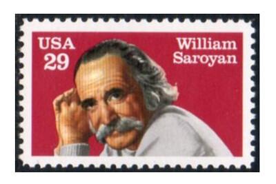 США. Уильям Сароян (1908-1981), американский писатель армянской национальности. Совместный выпуск с СССР. Марка