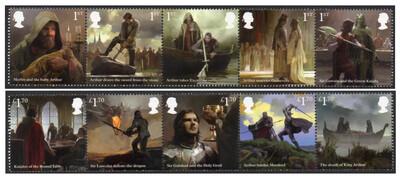 Великобритания. Легенда о короле Артуре. Серия из 2 сцепок по 5 марок