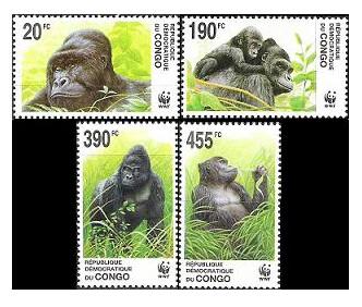 Конго ДР. WWF. Фауна. Восточная равнинная горилла. Серия из 4 марок