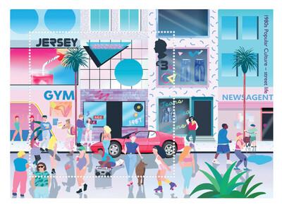 Джерси. Поп-культура 80-х. Почтовый блок
