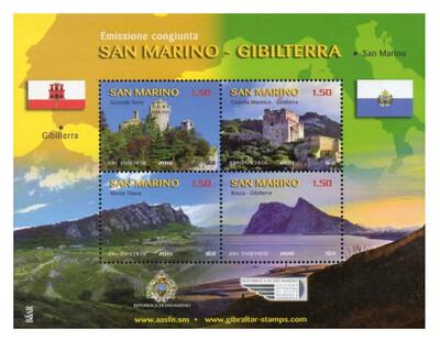 Сан-Марино. Достопримечательности. Совместный выпуск с Гибралтаром. Почтовый блок из 4 марок