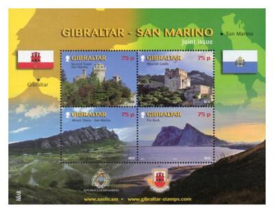 Гибралтар. Достопримечательности. Совместный выпуск с Сан-Марино. Почтовый блок из 4 марок