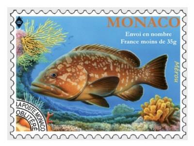 Монако. Фауна. Рыбы. Групер (Мероу). Предварительно аннулированная марка