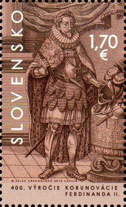 Словакия. 400-летие коронации императора Священной Римской Империи германской нации Фердинанда II в Братиславе. Марка