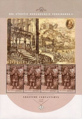 Словакия. 400-летие коронации императора Священной Римской Империи германской нации Фердинанда II в Братиславе. Лист из 4 марок
