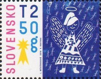 Словакия. Рождественская почта. Ангел. Марка