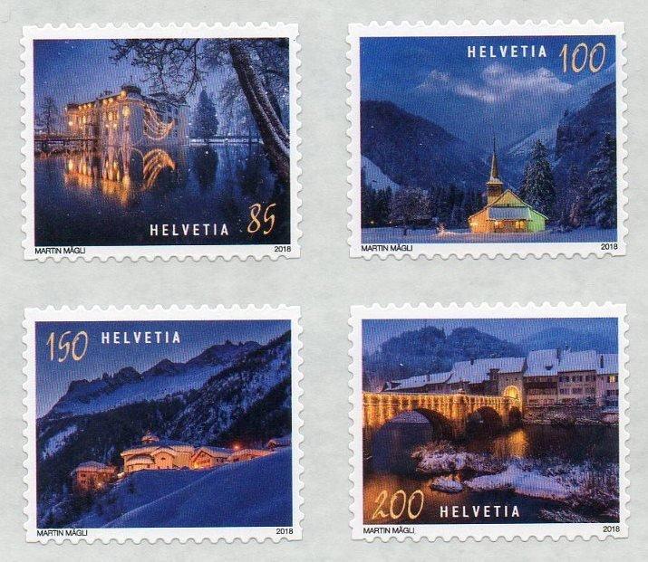 Швейцария. Рождество. Серия из 4 самоклеящихся марок