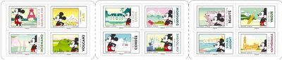Франция. Микки Маус во Франции. Буклет с 12 самоклеящимися марками