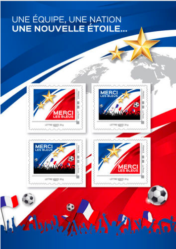 Франция. Спасибо Синие! Сборная Франции чемпион мира по футболу FIFA 2018 в России. Буклет с 4 самоклеящимися марками