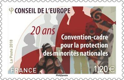 Франция. Совет Европы. 20-летие Конвенции о защите национальных меньшинств. Марка