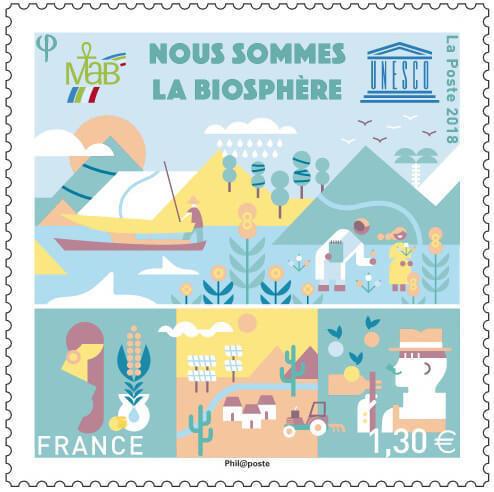 Франция. ЮНЕСКО. Мы - Биосфера. Марка