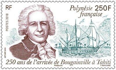 Французская Полинезия. 250-летие пребывания Луи Антуана де Бугенвиля на Таити. Марка