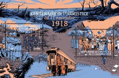 Франция. 100-летие перемирия 11 ноября 1918 года в Первой мировой войне. Почтовый блок из 2 марок