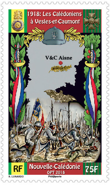 Новая Каледония. 100-летие окончания Первой мировой войны. Марка