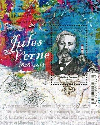 Сен-Пьер и Микелон. 190 лет со дня рождения Жюля Верна (1828-2018). Почтовый блок