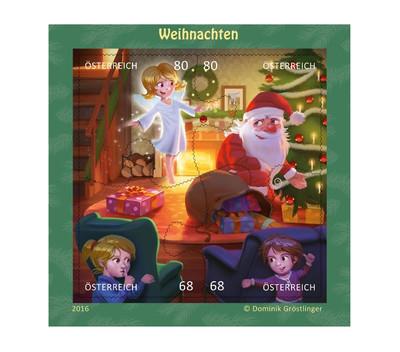Австрия. Рождество. Почтовый блок из 4 самоклеящихся марок в форме пазла