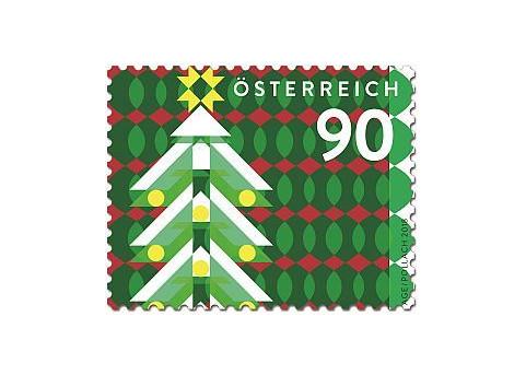 Австрия. Рождество. Модерн. Рождественская ёлка. Самоклеящаяся марка