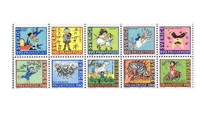 Швеция. 80 лет со дня рождения Астрид Линдгрен (1907-2002), детской писательницы. Сцепка из 10 марок