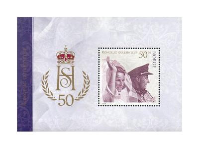 Норвегия. 50-летие свадьбы короля Харольда V и королевы Сони. Почтовый блок