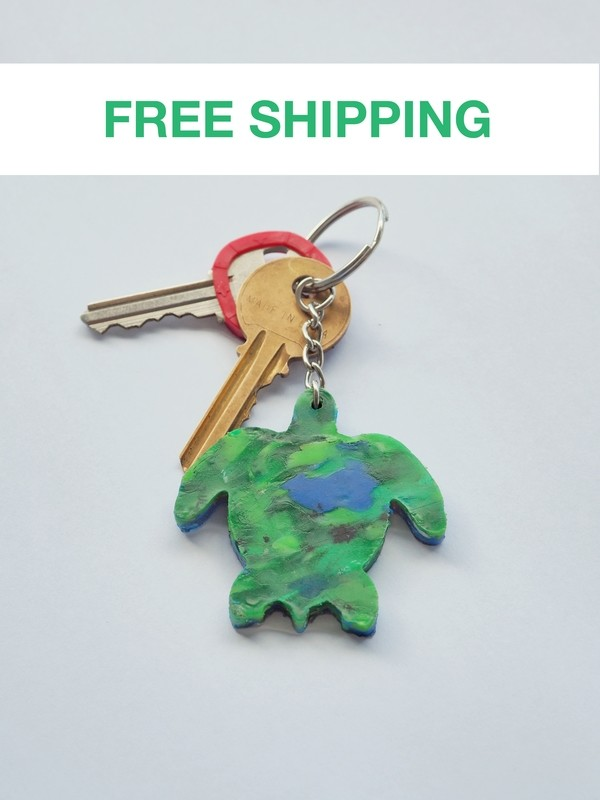 Recycled Turtle Keyring