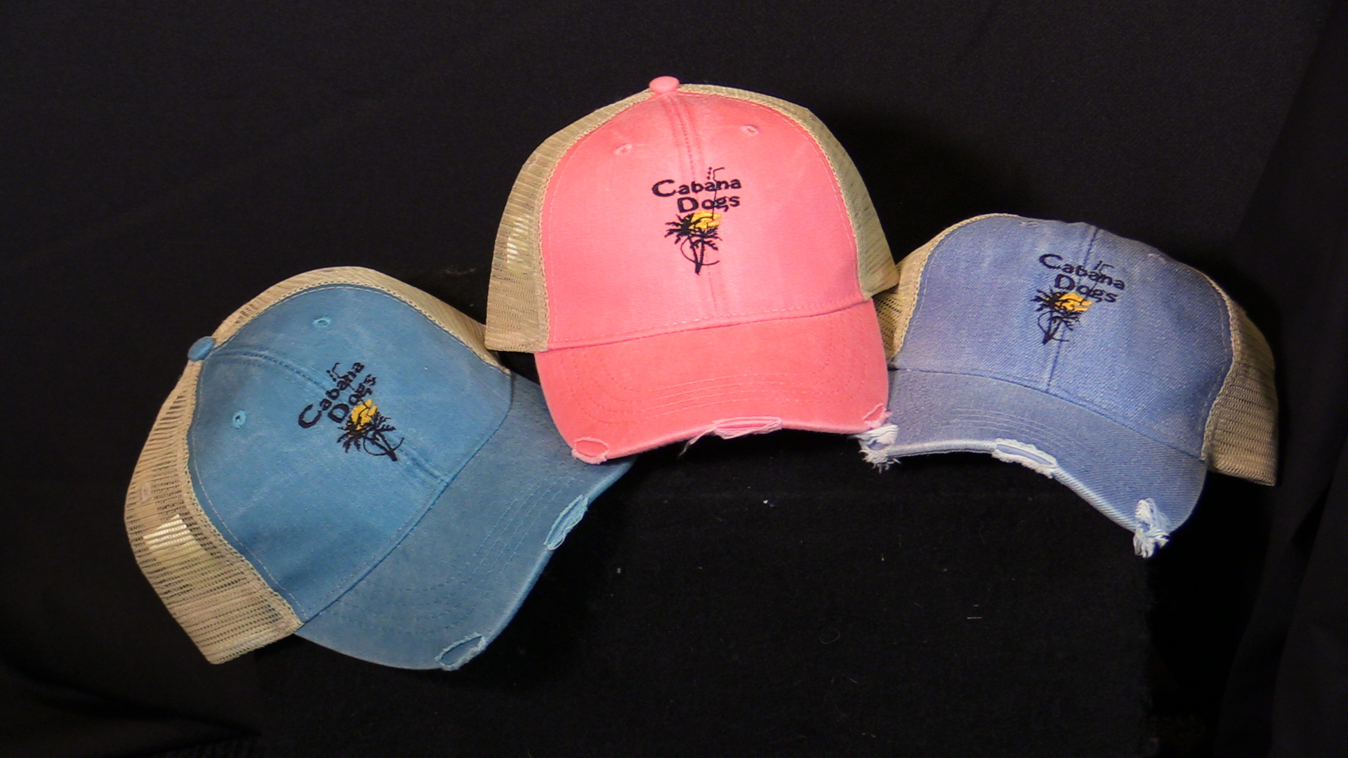 "Cabana Dogs logo ""Road-Worn"" Baseball Cap 3 colors 00001"