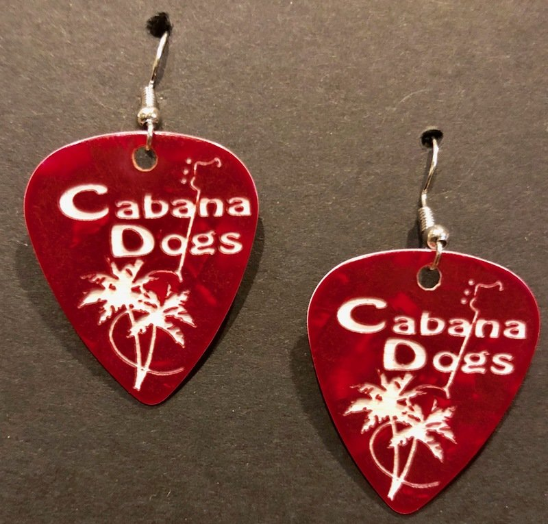 Cabana Dogs Guitar Pic Earrings 4 colors
