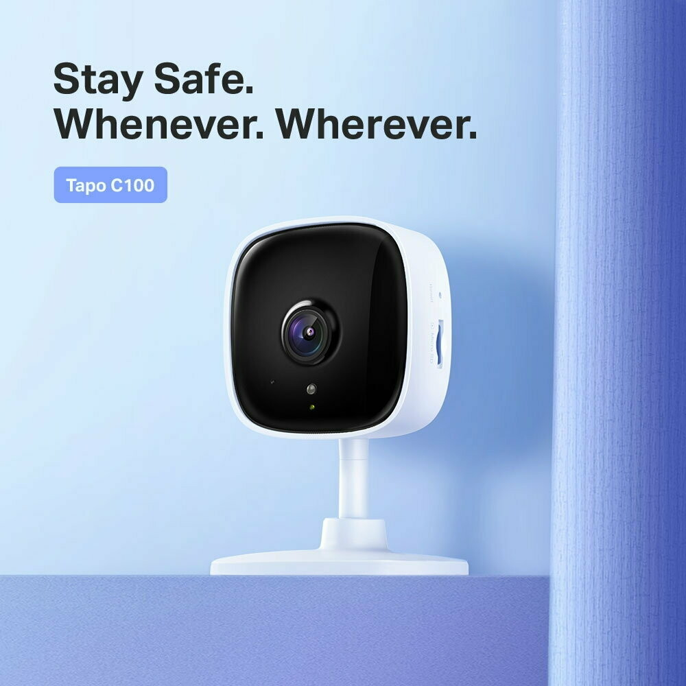TP-Link C100 Tapo Home Security Wi-Fi Camera, H.264, 1080P, 2-Way Audio, Motion Detect, Night Vision