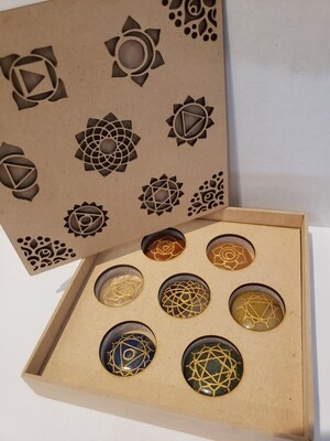 7 Piece Chakra Set with Sanskrit Symbols and Decorative Box