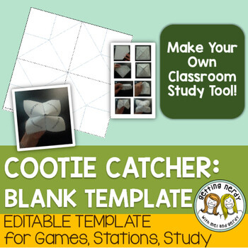 Fortune Teller / Cootie Catcher Blank Editable Template