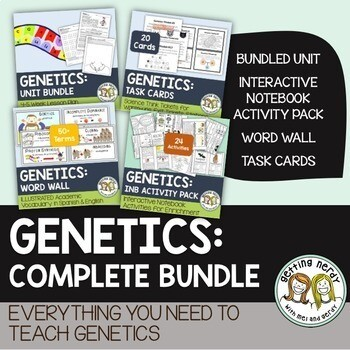 Genetics & Heredity Complete Bundle - PowerPoint Unit, INB, Task Card, Word Wall - Distance Learning + Digital Lessons