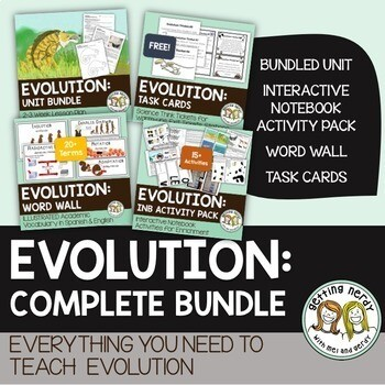 Evolution Complete Bundle - PowerPoint Unit, INB, Task Cards, Word Wall - Distance learning + Digital Lessons