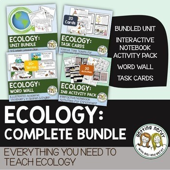 Ecology Ecosystems Complete Bundle - PowerPoint Unit, INB, Task Card, Word Wall