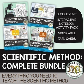 Scientific Method Complete Bundle - PowerPoint Unit, INB, Task Cards, Word Wall - Distance Learning + Digital Lesson