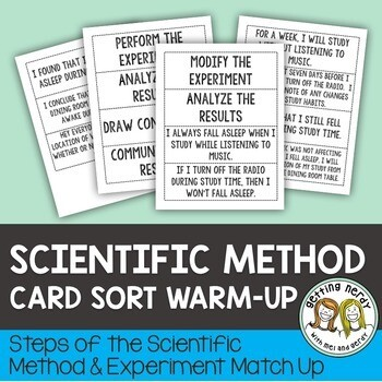 Scientific Method Steps and Experiment Card Sort