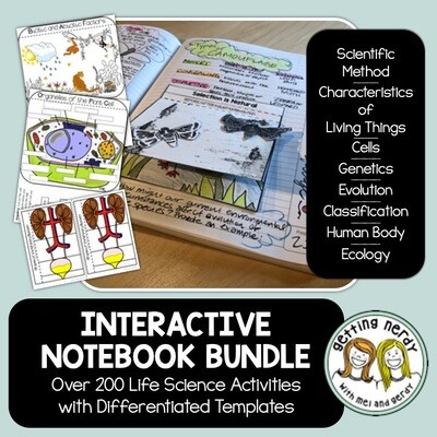 Science Interactive Notebook Bundle - Life Science and Biology Distance Learning + Digital Lessons