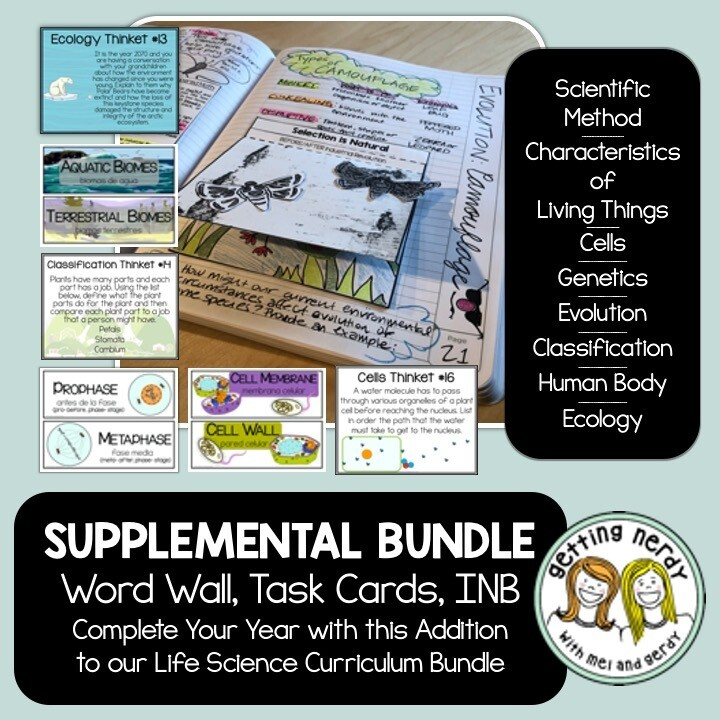 Life Science Supplemental - Interactive Notebook, Word Wall, Task Card Bundle for Digital Learning + Digital Lessons