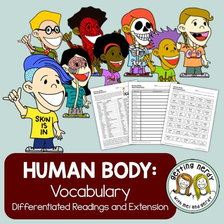 Human Body - Differentiated Vocabulary - Distance Learning + Digital Lesson