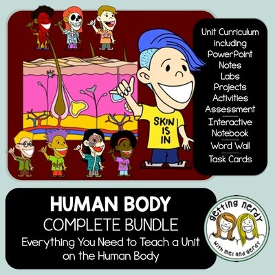 Human Body Systems Complete Bundle - PowerPoint Unit, INB, Task Card, Word Wall - Distance Learning + Digital Lesson