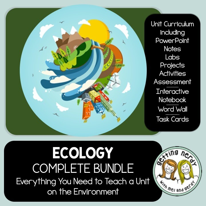 Ecology Ecosystems Complete Bundle - PowerPoint Unit, INB, Task Card, Word Wall + DIGITAL LESSONS