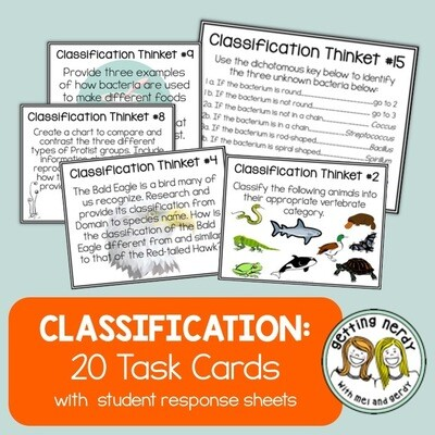 Classification Task Cards - Distance Learning + Digital Lesson