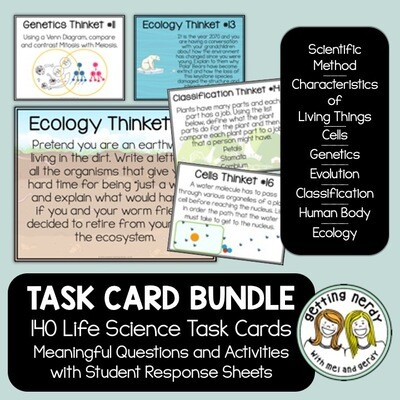 Life Science Task Card Bundle - Distance Learning + Digital Lesson