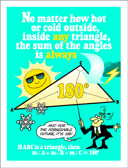 The sum of triangle angles is 180 degrees