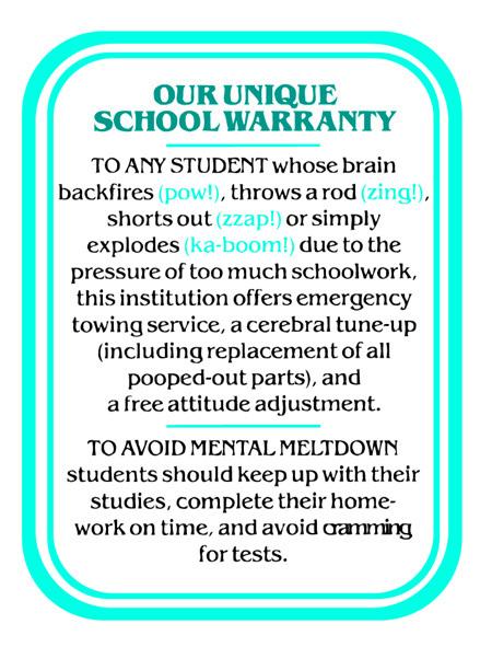 Our Unique School Warranty