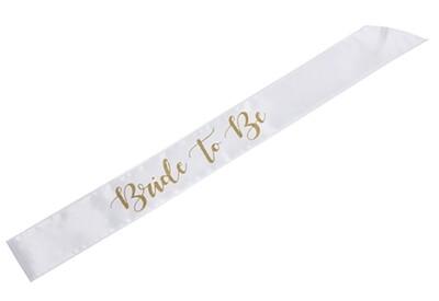 Bride to Be Sash (White/Gold)